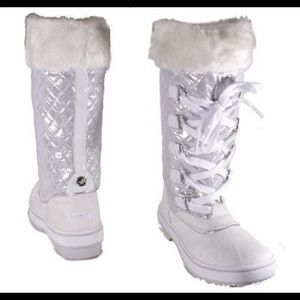 Baby Phat White and Silver Lace Up Snow Boots